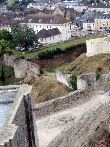 View of the entrance to Falaise Castle from atop the battlements.