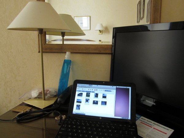 My room at the Hotel Churchill with my handy-dandy HP mini running Linux, which allowed my to process and post photos as I traveled.