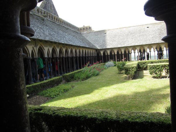 The cloister near the monks' quarters with the garden at center.
