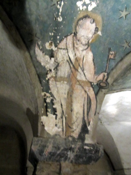 15th century painting on a pillar in the crypt underneath Bayeux Cathedral.