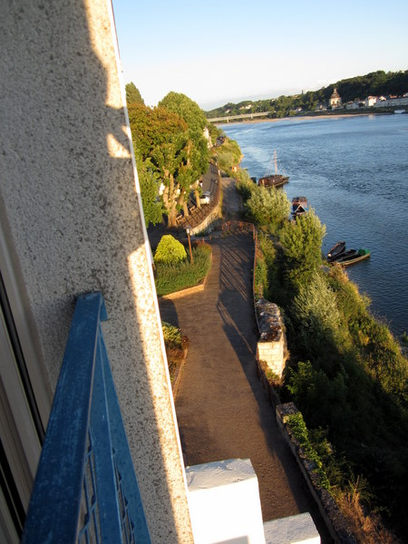 You can see the shadow of me taking this photo off my balcony as the sun was setting and after I finally got to my Saumur hotel.