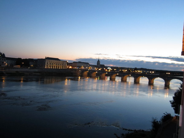 View from my balcony as darkness descends at Saumur, France.
