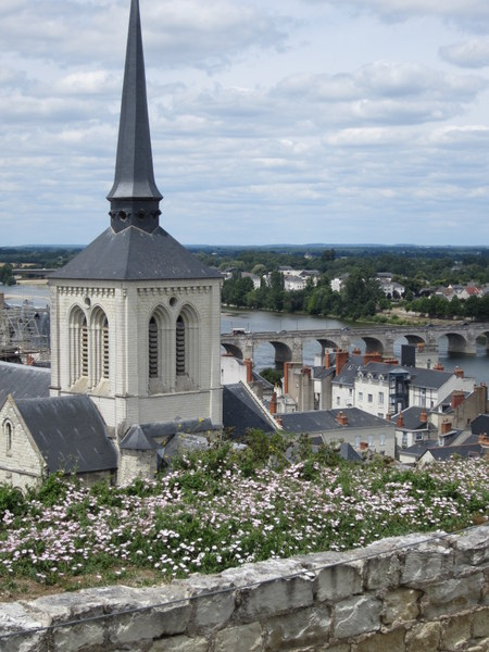 A view from the top of the hill overlooking the bridge and river, Saumur France.