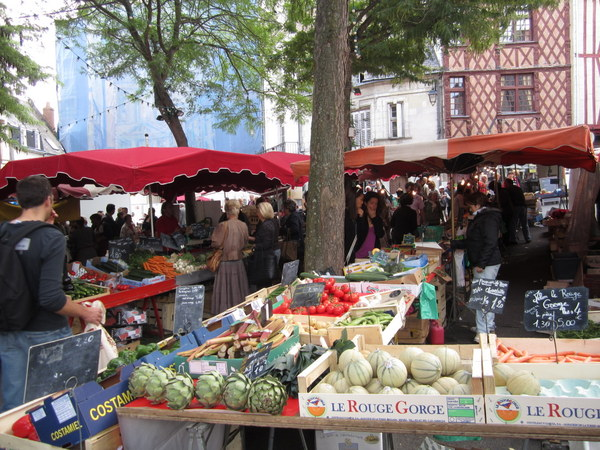The Saturday Market at Place St Pierre, Saumur, France