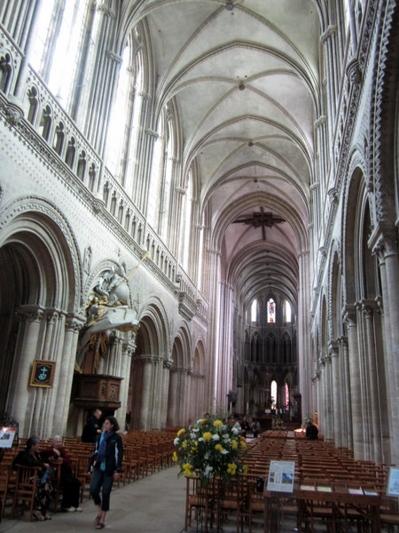 The interior of the Cathédrale Notre-Dame de Bayeux. More beautiful than the exterior to my cursory view from my last night there.