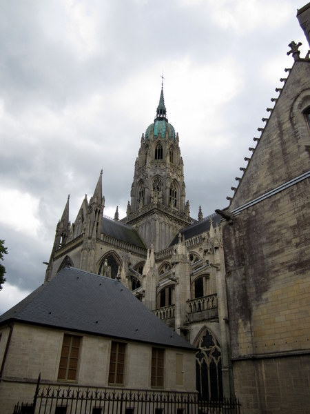 The grim, weathered outside of Bayeux Cathedral.
