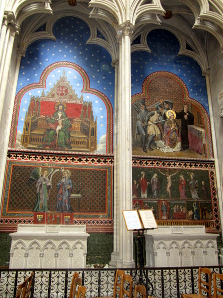 Paintings on a wall of the gallery at the Bayeux Cathedral.