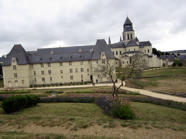 A view of the Abbey at Fontevraud from the gardens west of the complex.