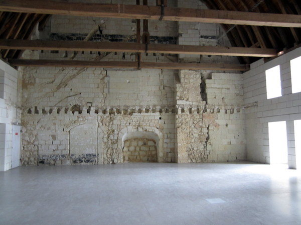 An empty hall at the abbey. The limestone is degrading. Repairs are constantly being made.