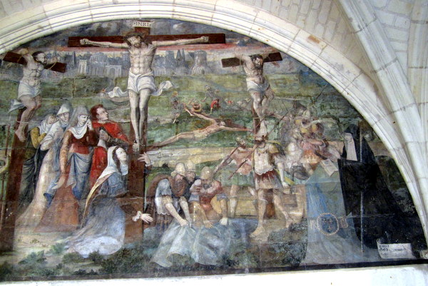 Some of the abbesses appear in Renaissance paintings depicting Christ's life. Notice the dark figure with a white whimple in the lower right.