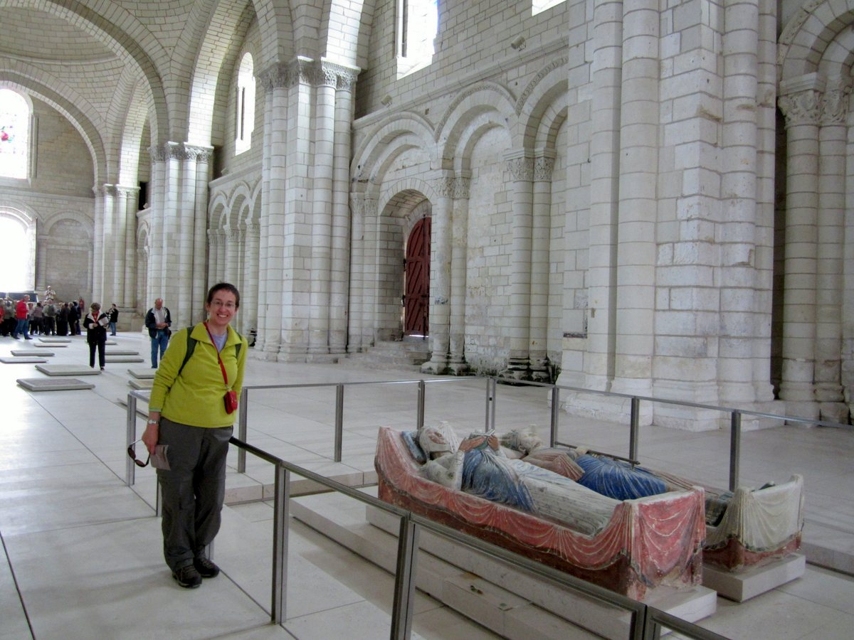 Here I discover the burial place of Eleanor of Aquitaine. Henry II (or at least most of him) lies next to her.