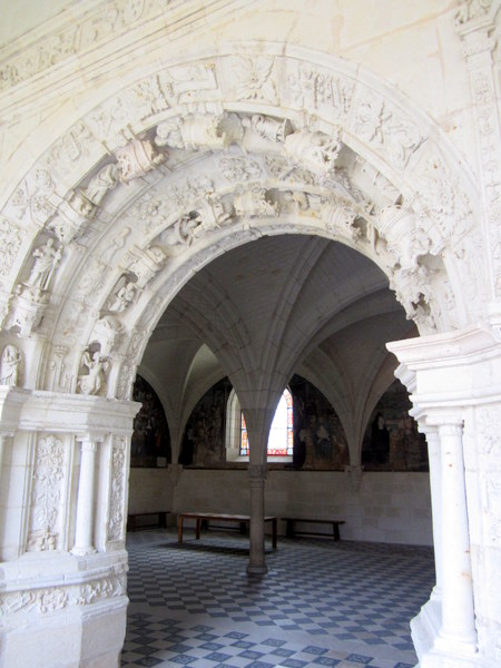 View into the interior of the chapter house at Fontevraud Abbey.