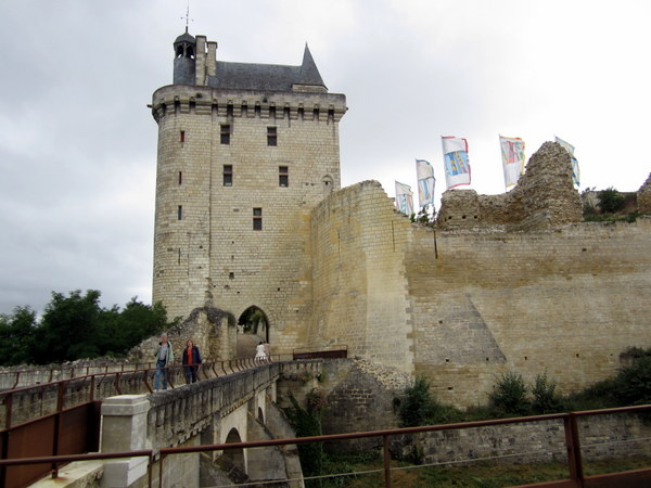 The entrance and Tour de l'Horloge or clock tower at the Chinon Chateau Fortress. The clock tower houses a museum devoted to Joan of Arc.