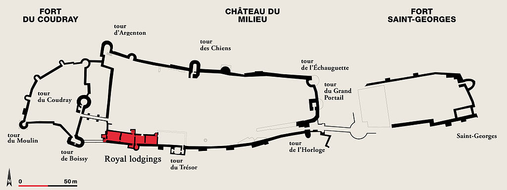 A  site drawing of the entire Chinon Chateau  derived from original work by Agnès Dahan and used under the Copyleft Attitude  Free Art License 1.3 (FAL 1.3 ).