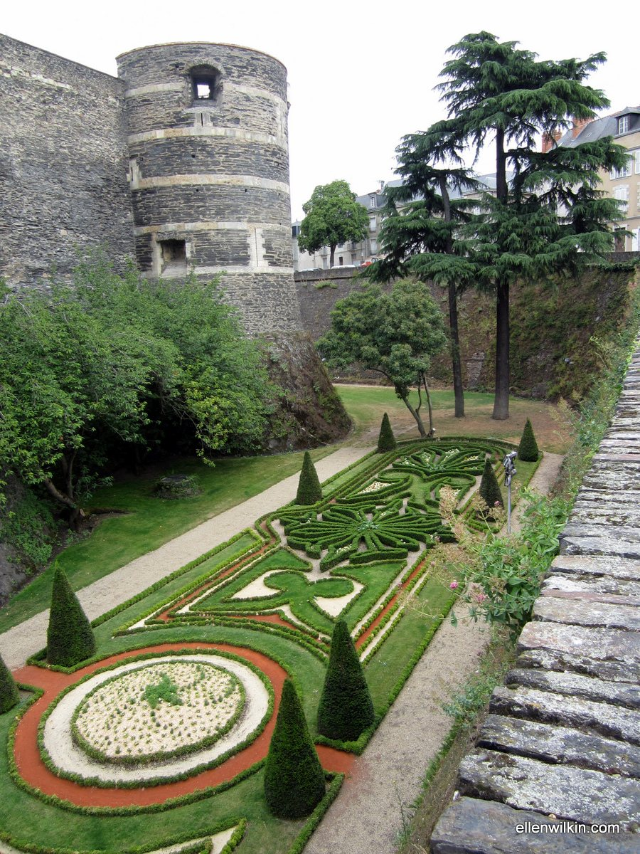 The moat gardens at the Chateau d'Angers.
