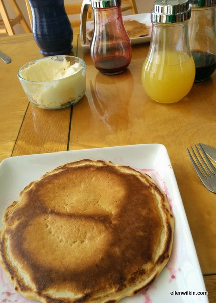 An unusual pancake at breakfast.