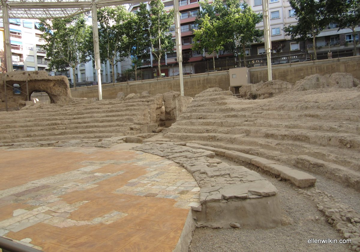 The Ruins of the Stage of a Roman Theater, Zaragoza, Spain June 28, 2011