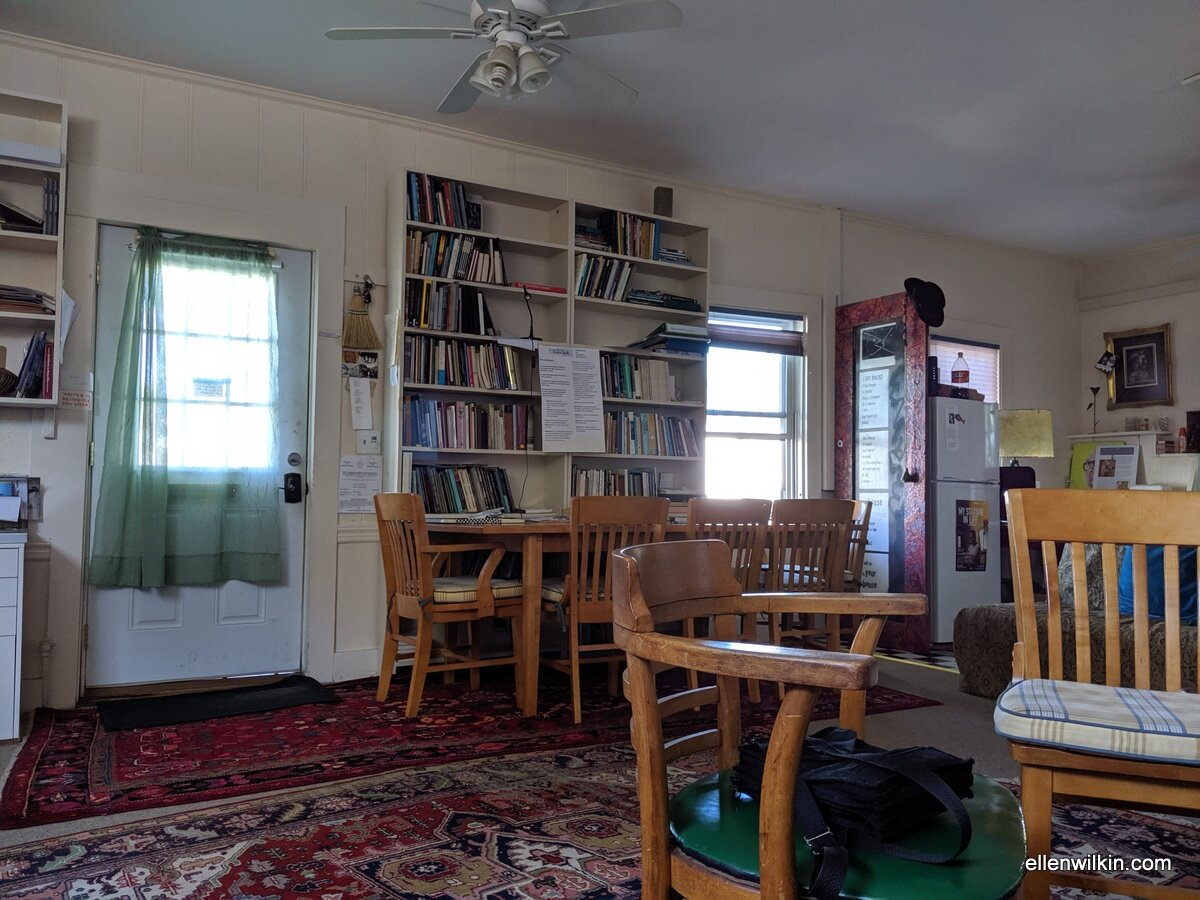 The Gloucester Writers Center cottage in Gloucester, MA. The alien craft sits on the far right of the photo.