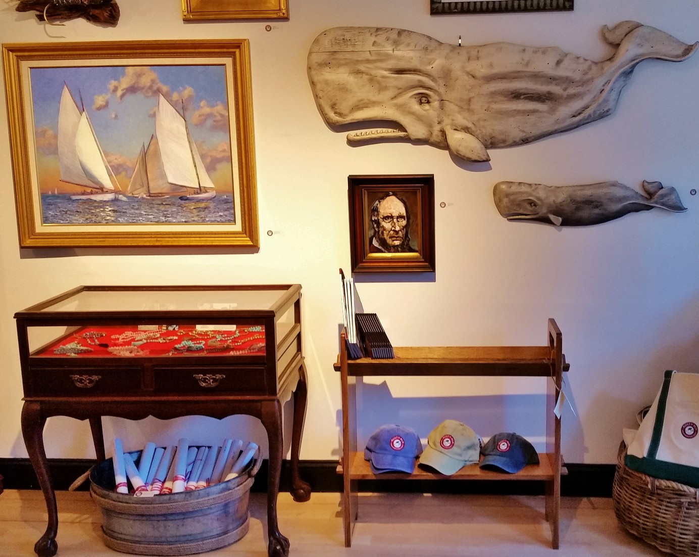 """The """"Librarian"""", pictured under the whales and Capt'n Ahab."""