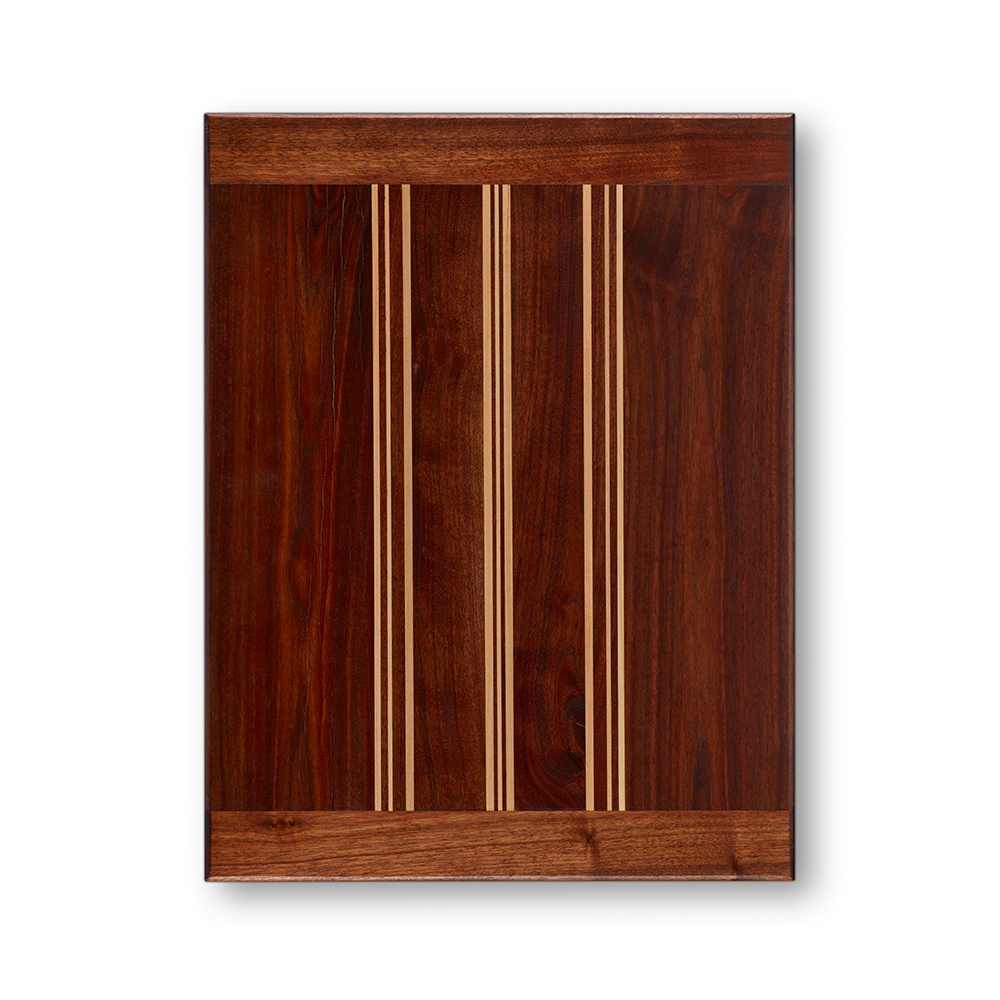 This particular serving board is in a handsome antique black walnut with maple stripe patterns.