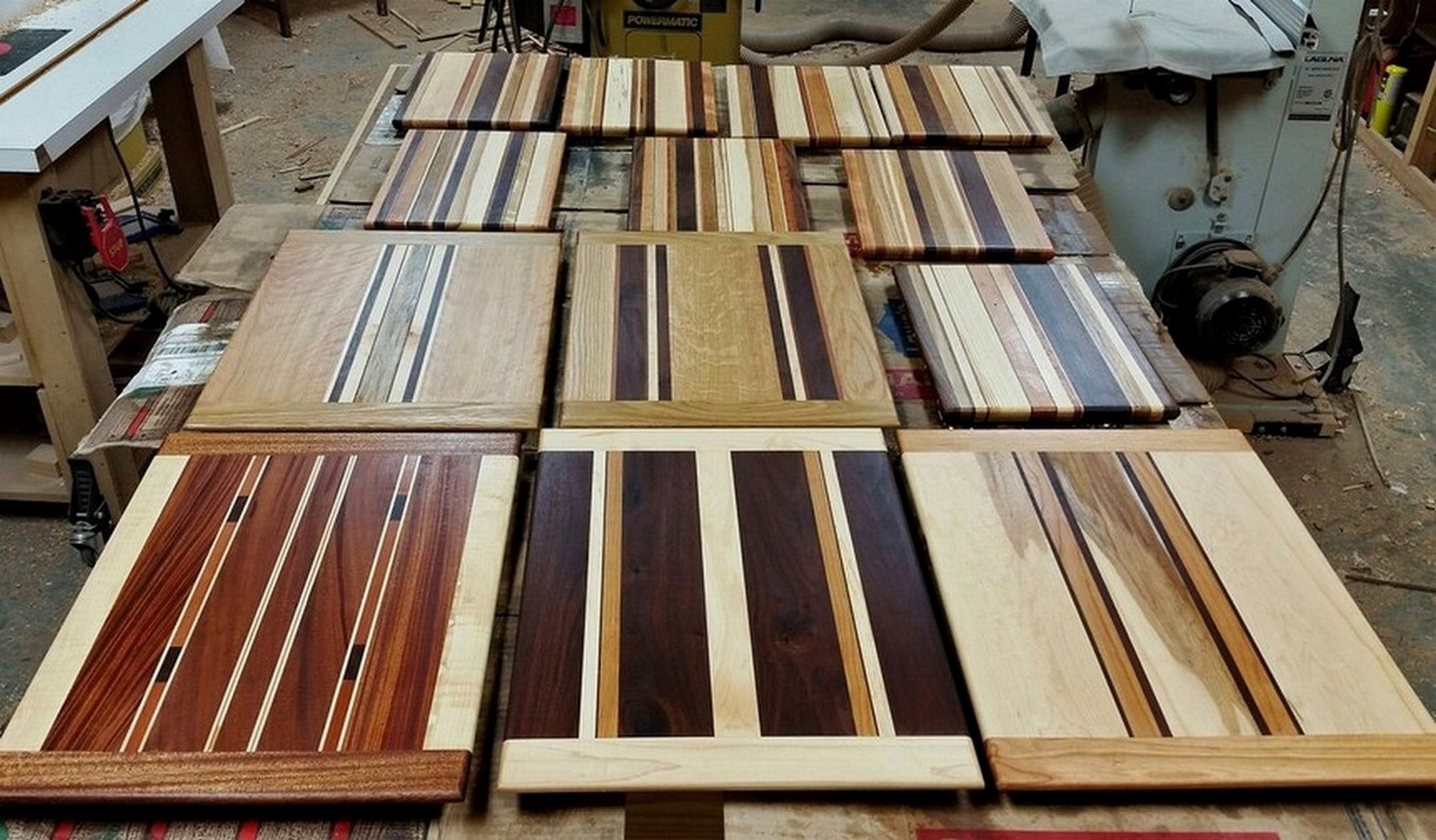 A new group of serving and cheese boards nears completion