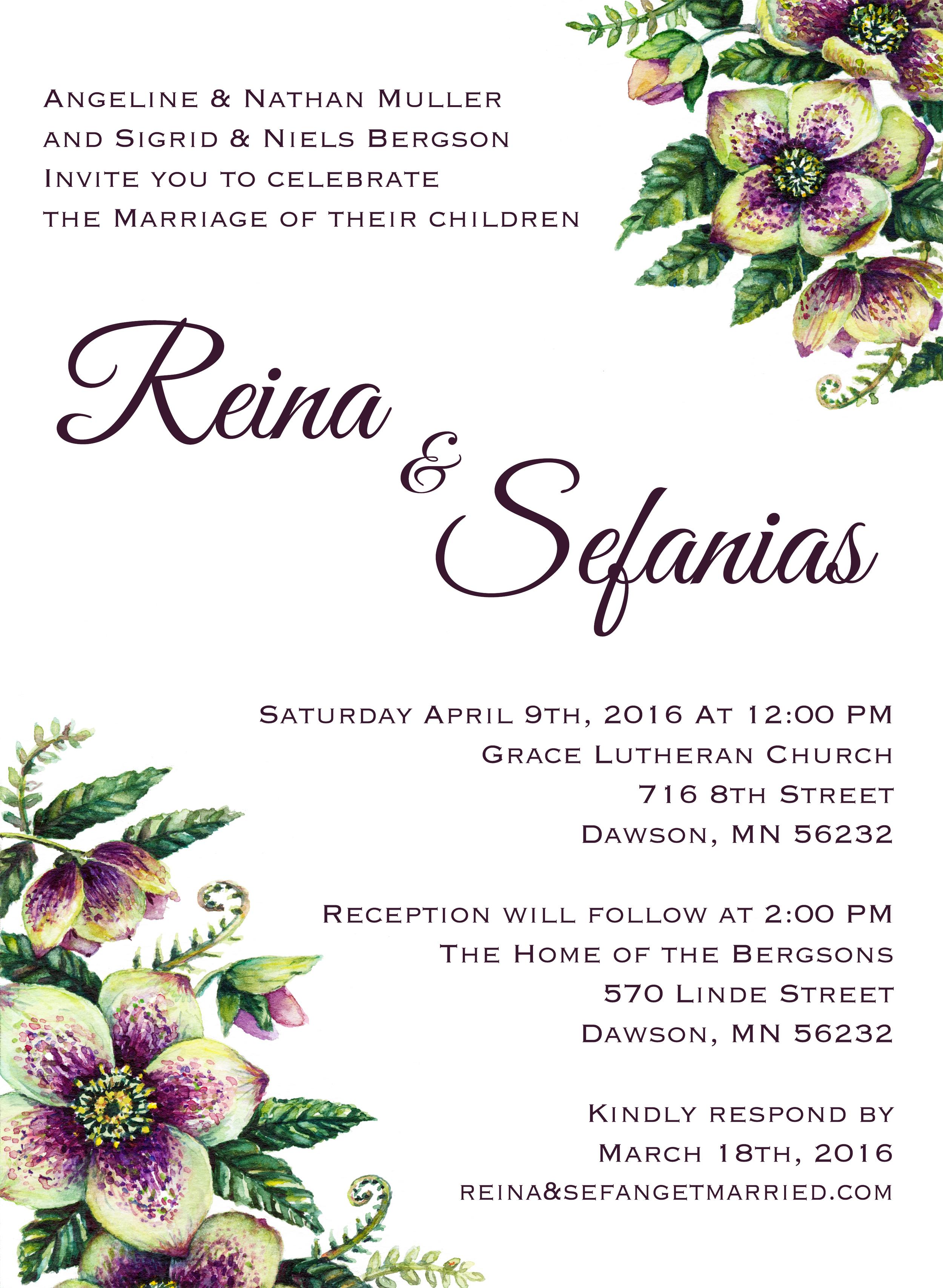 Custom Painted Wedding Invitation
