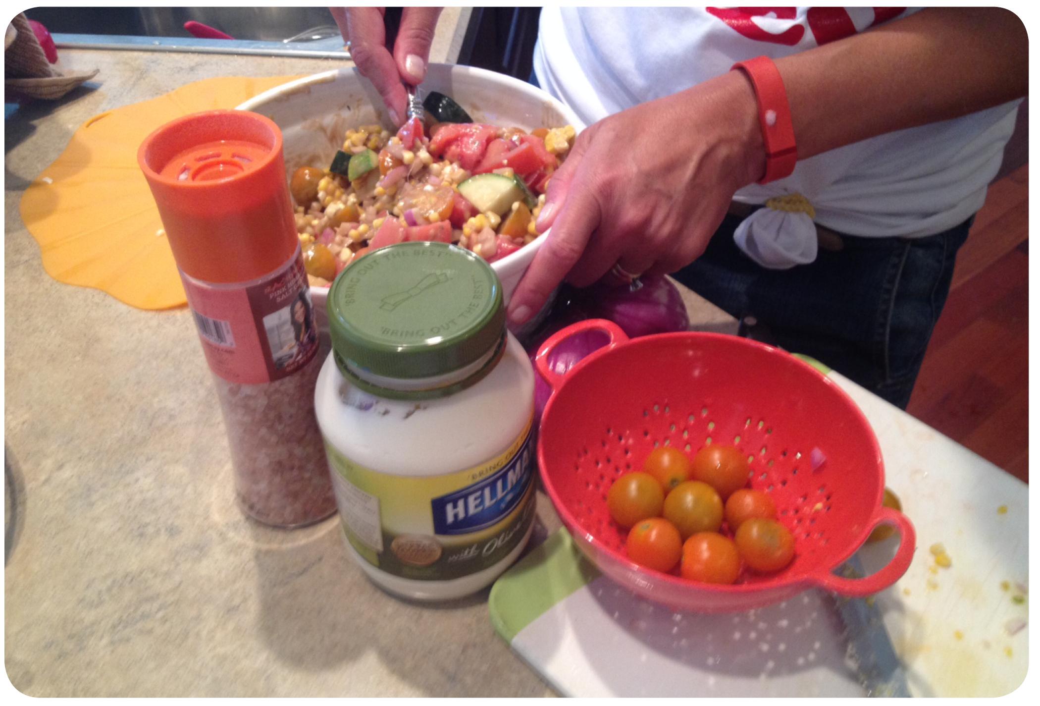 making corn salad for blog