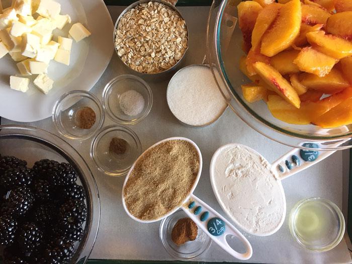 Blackberry Peach Crisp - Ingredients