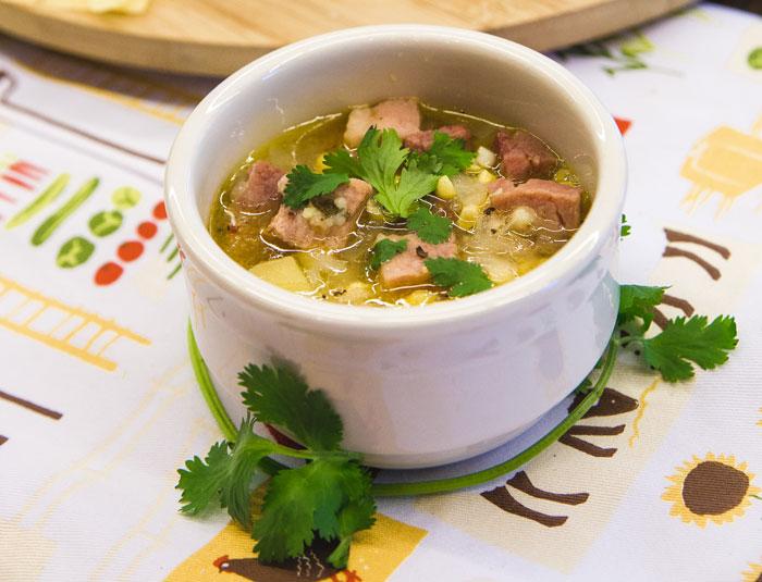 Summer Corn & Ham Soup Served