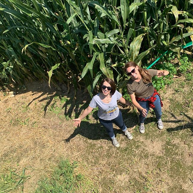 Today we gave @danadeanksdk & @courtneybtv with @showmestlouis a first hand tour of the @stlouisblues themed corn maze. Tune into @ksdknews tomorrow at 10am to see if they were able to make their way out! - - - - - #eckerts #eckertsfarm #smsl #cornmaze #lgb #stanleycup #fallfun