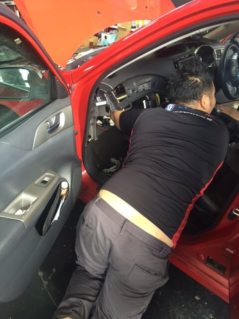 We have to remove the dashboard to get access to the cooling coil.