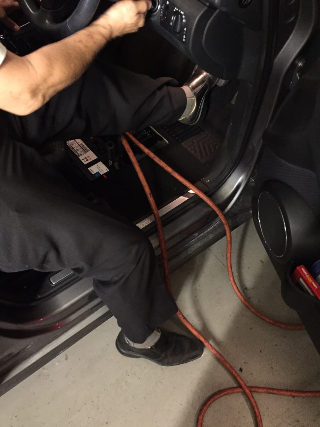 External battery is connected to the terminals of the in-car battery