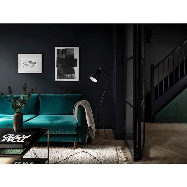 The dark and moody living room of our Victoria Park project 🖤 #designandthat #interiordesign #victoriapark #darkinteriors 📸 @leodavut and @alexdallison