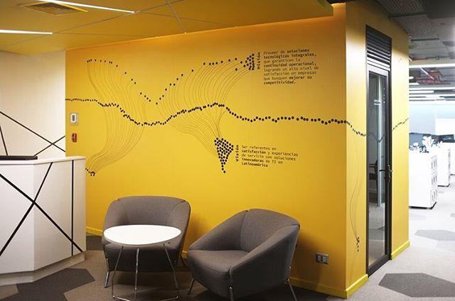 Cómo comunicar gráficamente, trantando de no caer en lugares comunes, a través de un lenguaje no-tan-literal (ojalá poético) y que exprese por si mismo el quehacer de una empresa de IT? Big Data, Gestion y Orquestamiento de info, Automatización, y un montón de conceptos más de los que no entendía absolutamente nada ✌🏼 . Luego de horas de estudio, y a un año desde que se desarrolló el diseño original, por fin quedó instalado este mural para Anida LATAM, en el bloque de muro central de la oficina, el cual divide el área comercial del área técnica y además es el muro de recepción, comunicando a través de la gráfica la misión, la visión y los valores fundamentales de la empresa 👀 saliendo de los recursos tradicionales gráficos del imaginario de tecnología ✊🏼 y sacando al cliente de su zona de confort para atreverse a innovar, pero que aun así lo sienta propio (esa es la pega mas grande! 🙅🏼) El mural da la vuelta a este bloque, les voy a ir mostrando en las próximas fotos ✨ . Arq y habilitación: @raum_construimos_identidad  #holateamo #mural #enviromentalgraphics #minimal #itdesign #colour #yellowperiod #disenochileno #disenointeriores #arqchile #slowdesign #informationtechnology