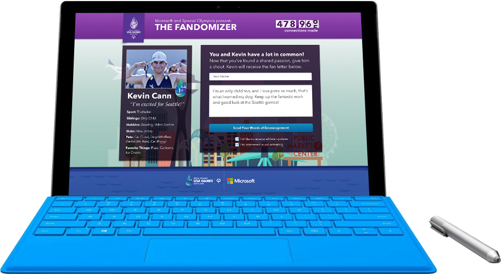 Sending a personalized message to a Special Olympics athlete via the Microsoft Tablet