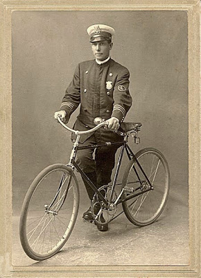 Police bicycles had enormous front sprockets to give them an advantage in catching the fastest scorchers.