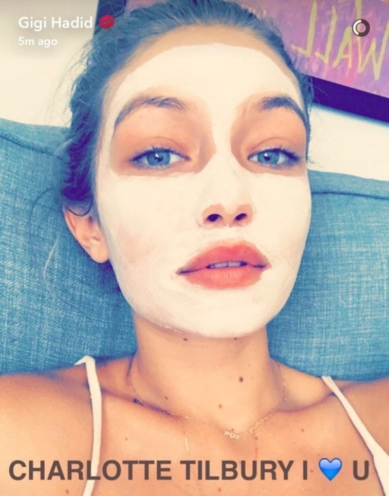 The super model Gigi Hadid with the Goddess Skin Clay Mask on; The picture is from her Snapchat.