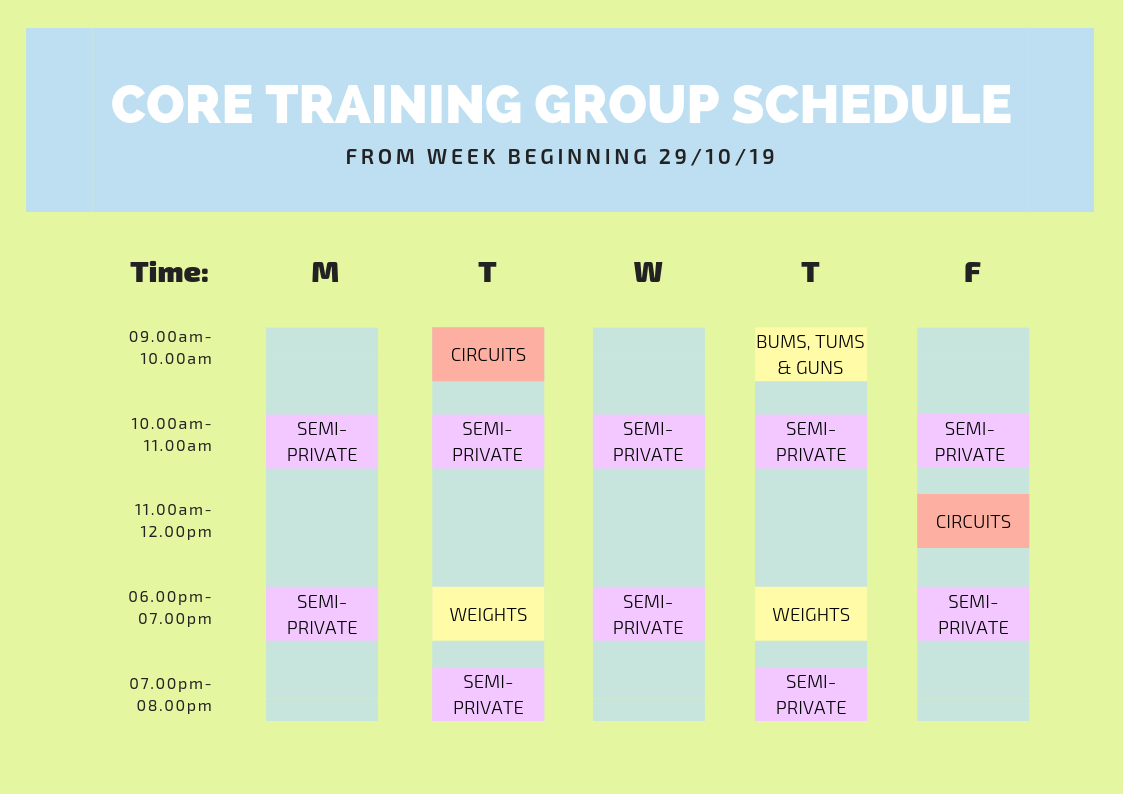 Our current Group Class Timetable