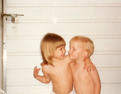 """My cousin and I as kids at """"Home"""""""
