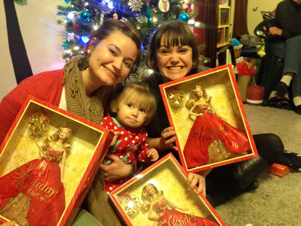 Kira (my sister), Tallulah (my niece) and me with our Barbies