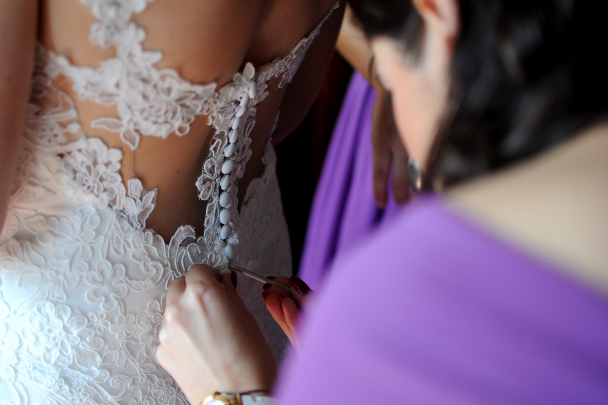Close up wedding dress