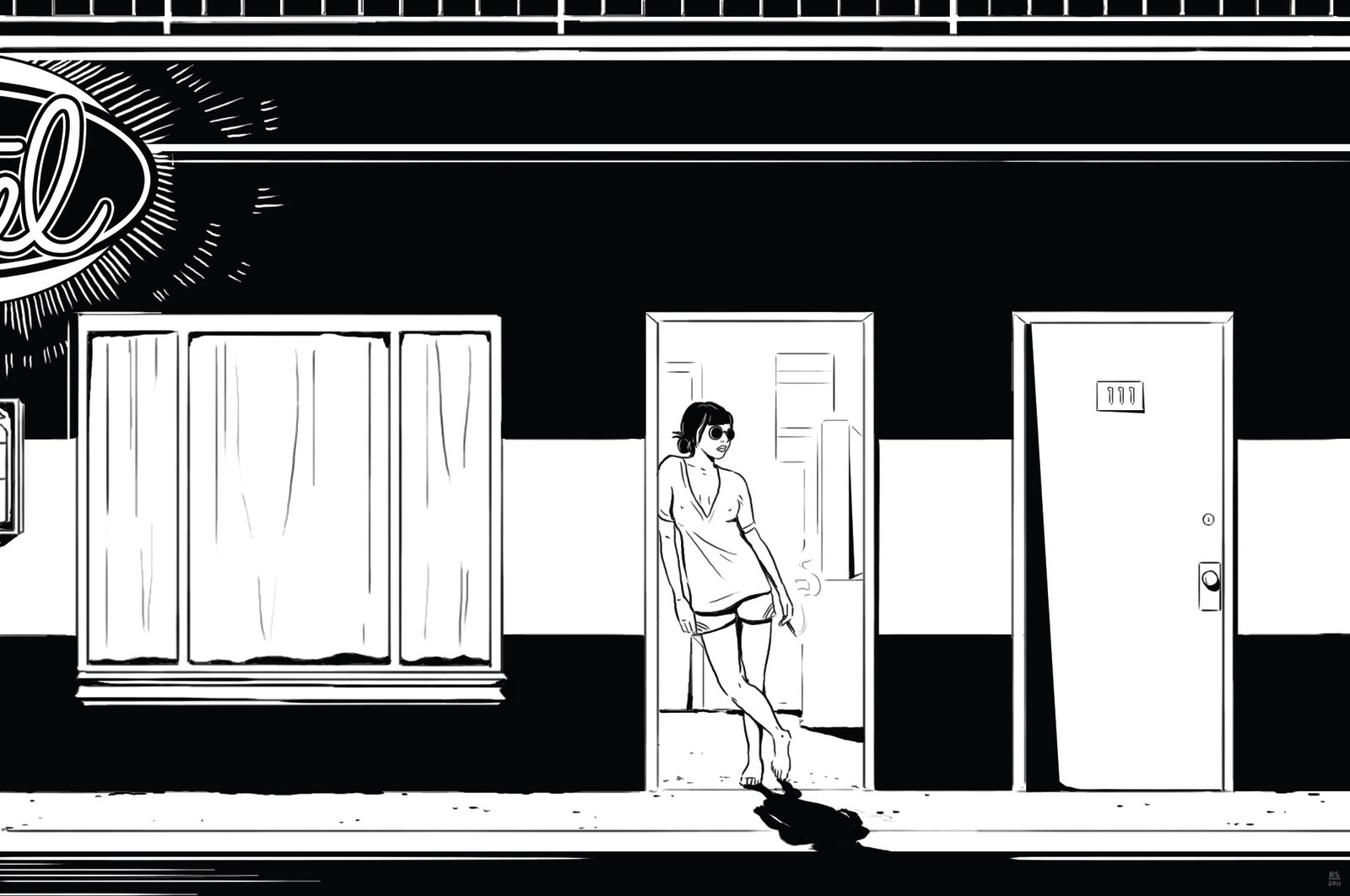 ***move to illustration page?lonely night, girl, motel