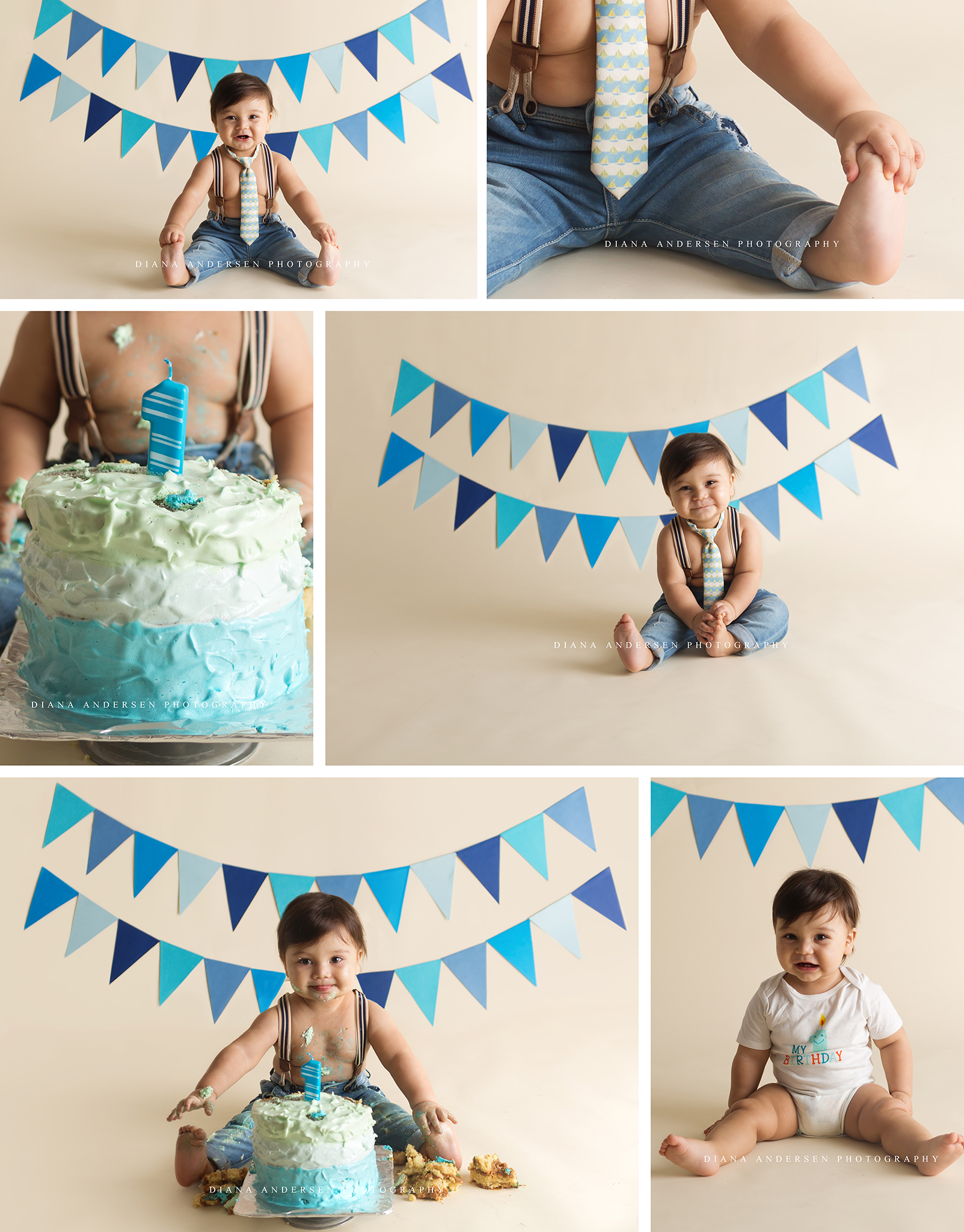 Blue baby boy Cake Smash with bunting background in Wyoming