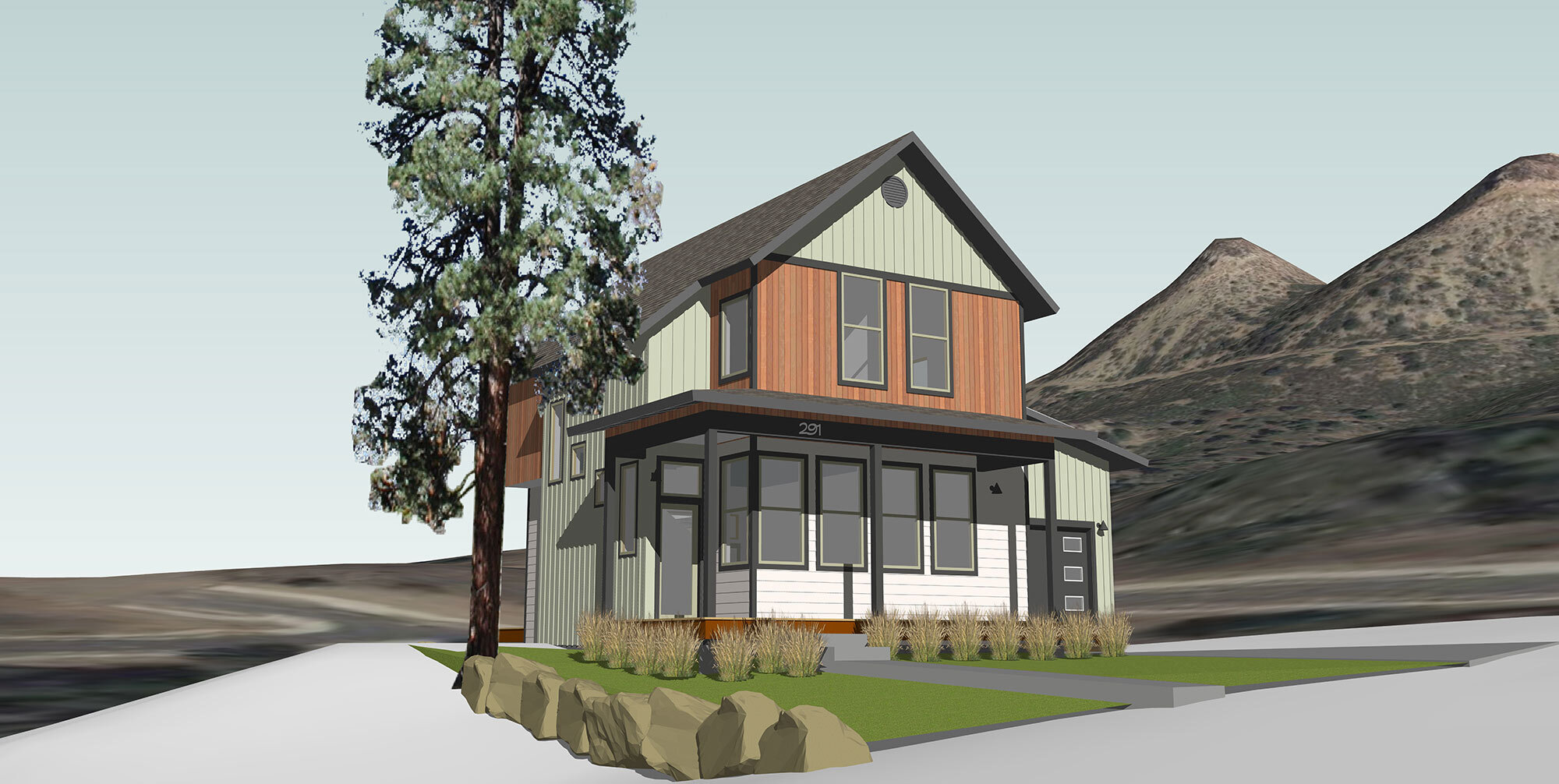 Southwest Colorado home construction rendering: The Telluride design from Silver Mountain Group