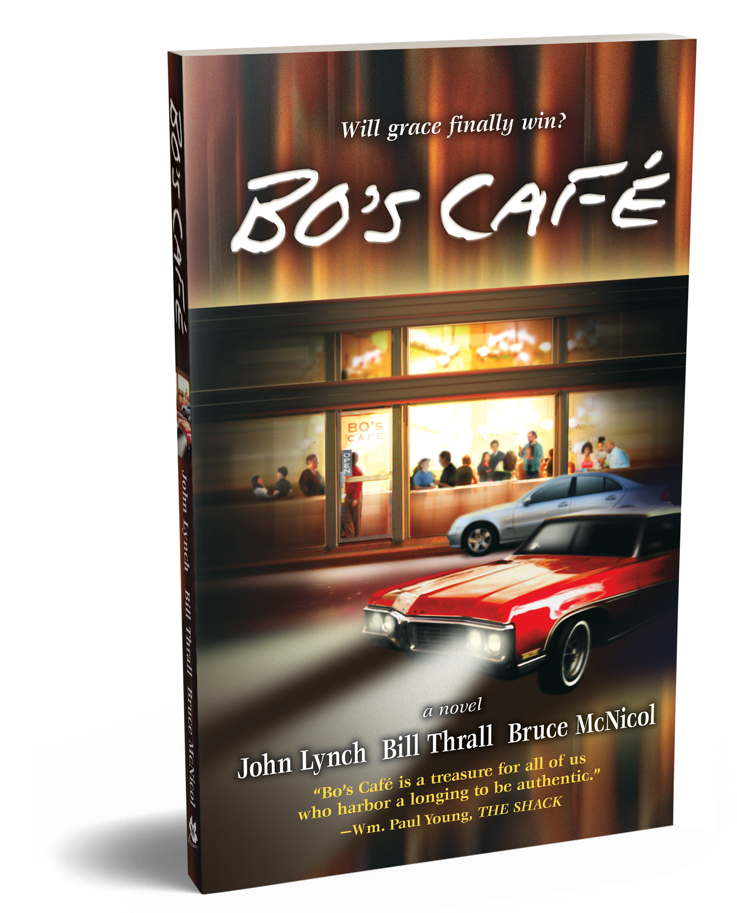 Bo's Café   High powered exec Steven Kerner has no idea how his unresolved anger threatens his marriage, his relationship with his children, or his high-profile way of life.  Bo's Cafe  guides us through Steven's journey as he struggles to trust that God and others have answers for his life, marriage, and parenting that he cannot find on his own.