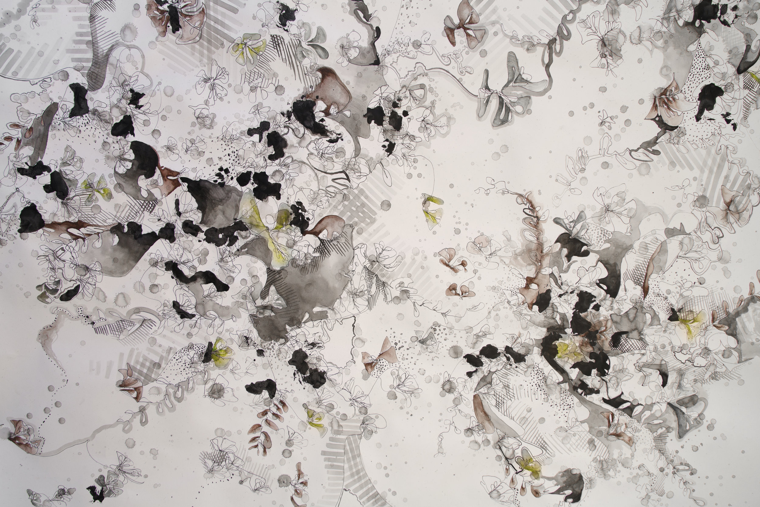 Growing - In my abstract works I aim to create an overall sensation for the viewer, whether it be by scale, distortion, or immersion.The scale of the page in Growing (2015) creates a sense of wild overgrowth; the viewer is surrounded by layers of vegetation, ink splatters, and patterns.