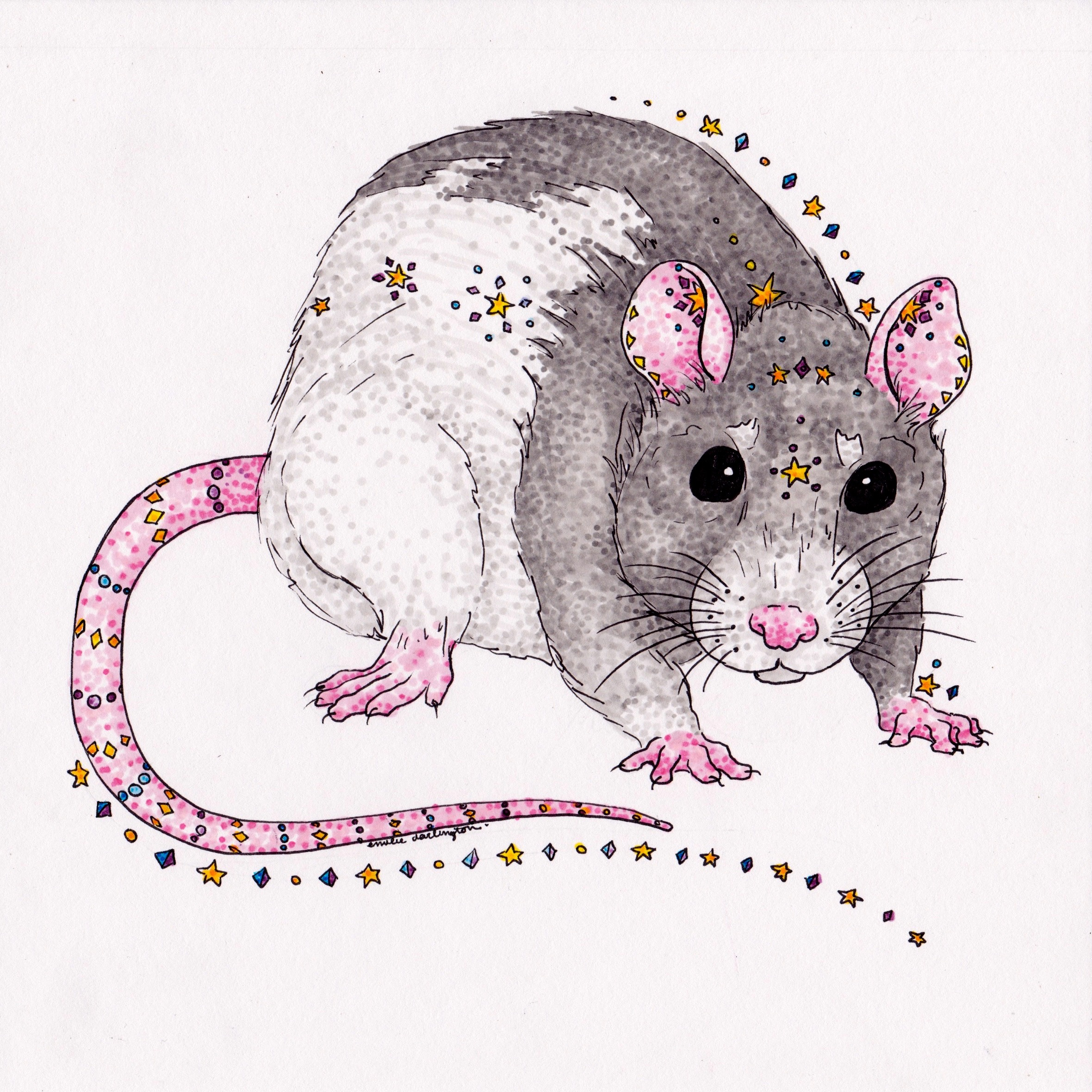 Dumbo Rat - This little critter was commissioned by a friend as a Christmas gift to her mother. The whole family has always owned pet dumbo rats, everyone cherishes their cute noses, giant ears, and clever minds.