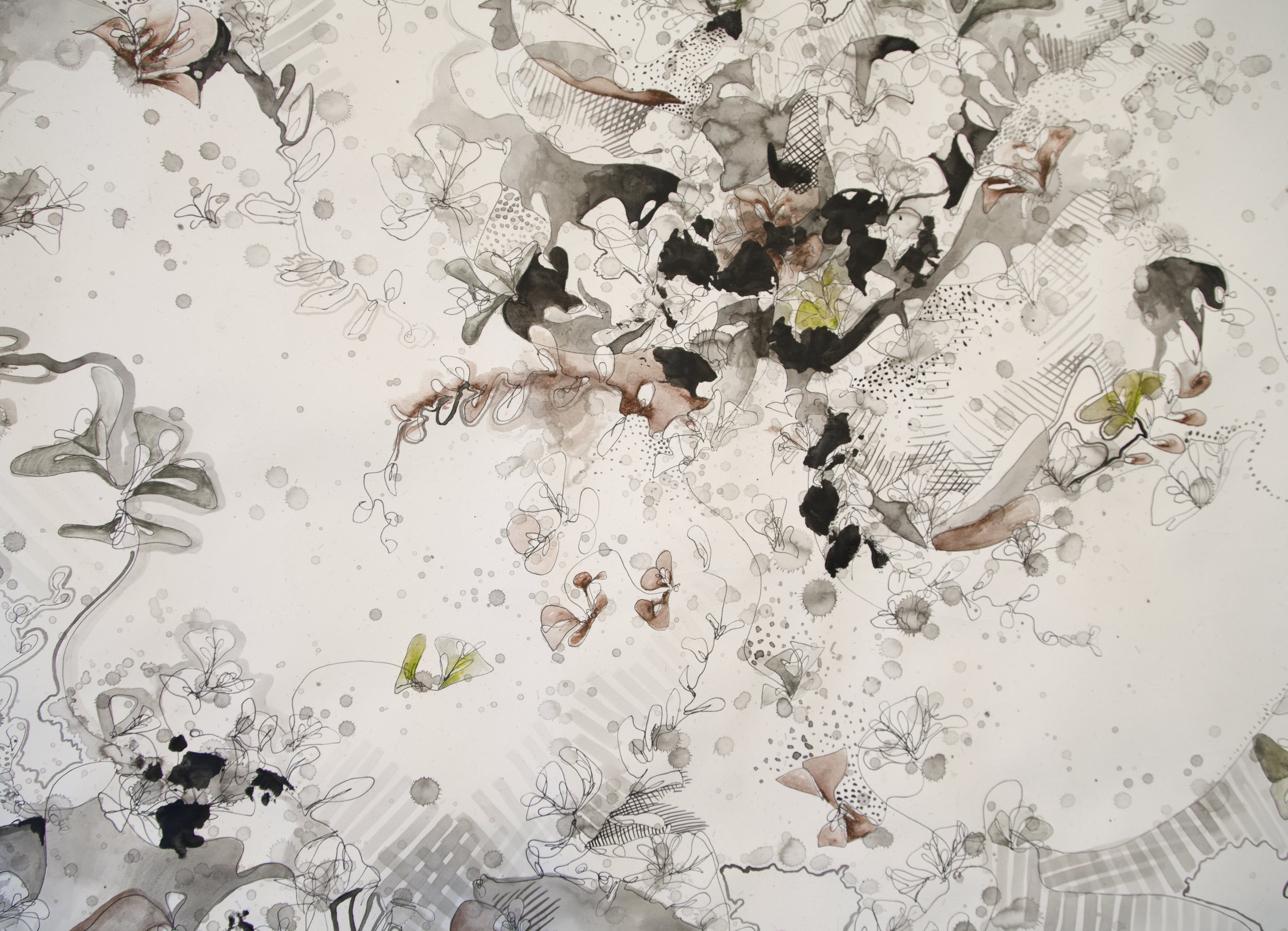 Growing - 4ft x 5ft - March 2016 - Ink, Watercolour, PaperThe scale of the page in Growing (2015) creates a sense of wild overgrowth; the viewer is surrounded by layers of vegetation, ink splatters, and patterns.