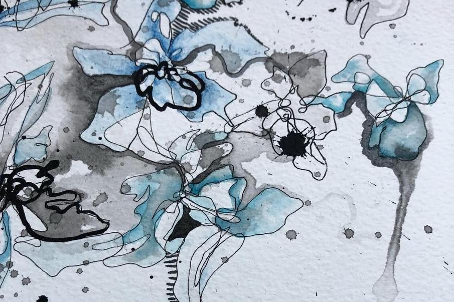 "Echeveria I - Blind contour study of Echeveria succulents with watercolour details.11""x14"" - October 2018 - Ink, Watercolour, Paper"