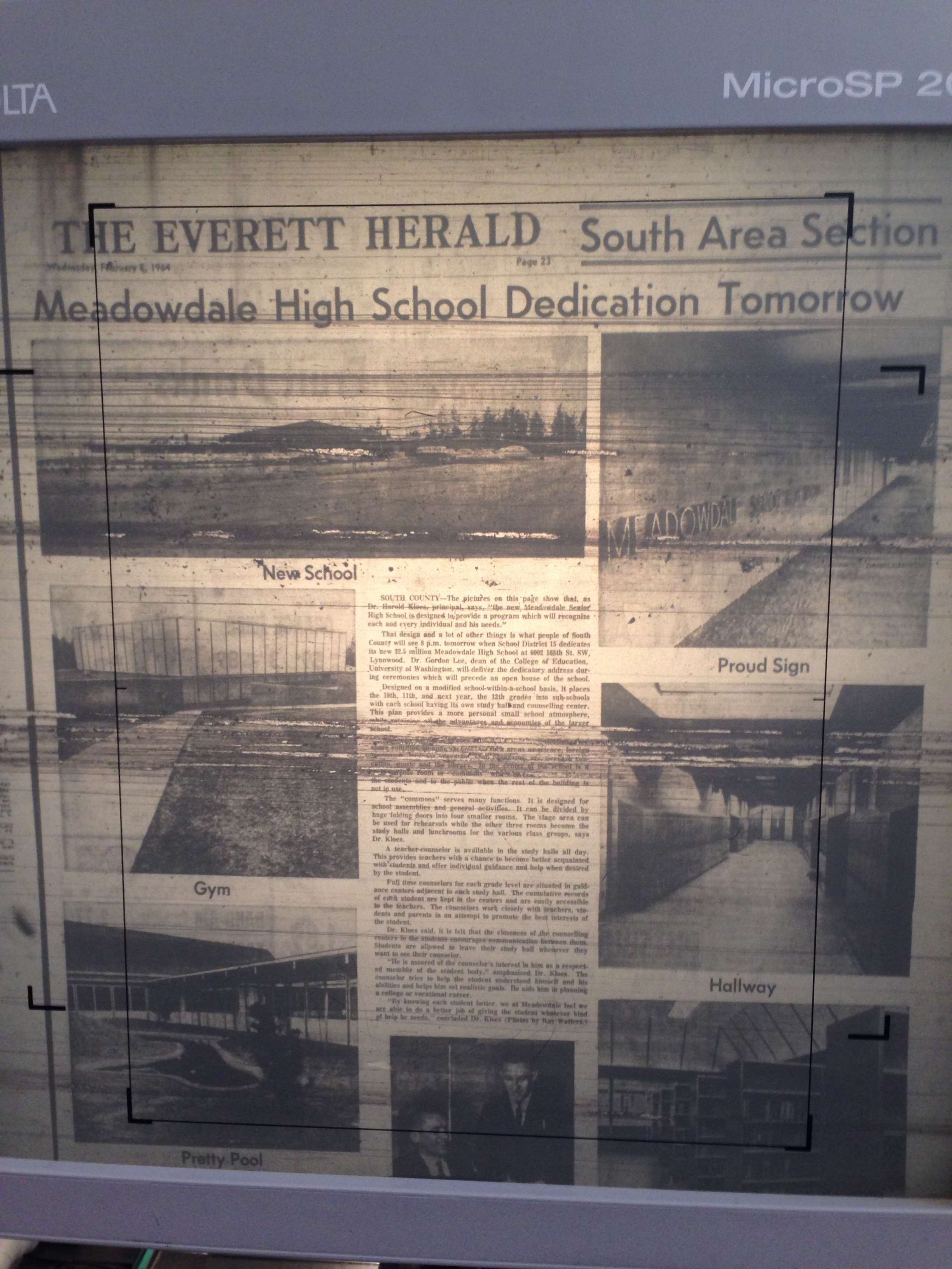 Article from  The Everett Herald  about the opening of Meadowdale High School in 1963.